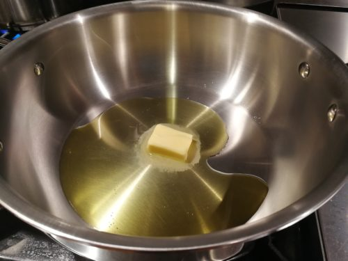 Heat olive oil and butter in a pan