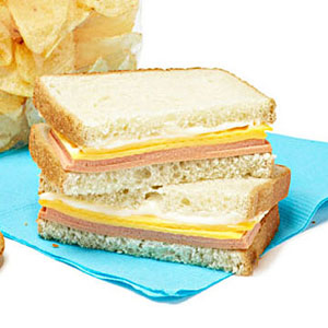Bologna and American Cheese Sandwich
