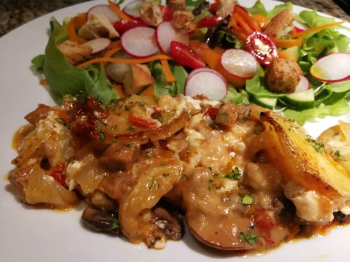 Cheesy Italian Sausage Potato Gratin with a salad