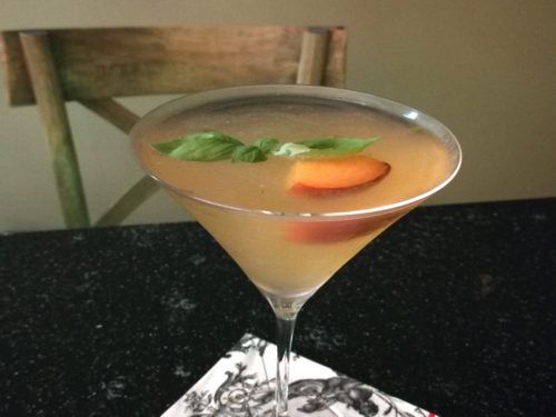Peach Basil Martini Closeup