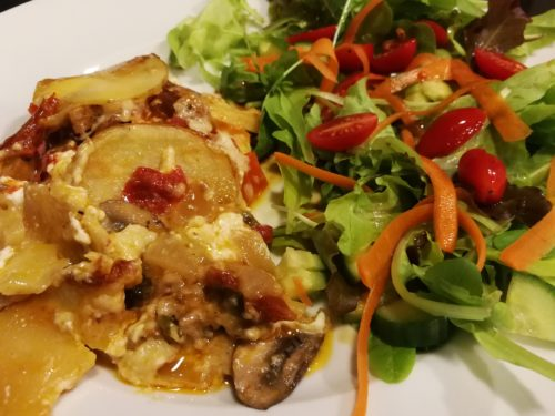 Sausage Potato Gratin with side salad
