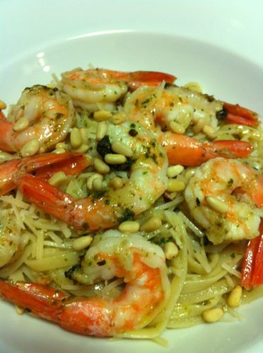 Shrimp Pesto Linguine with Pine Nuts
