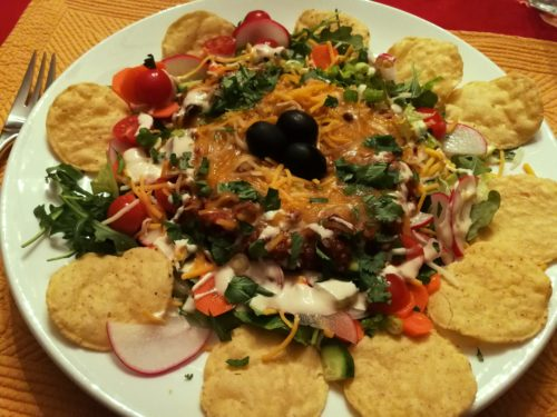 Taco salad with chili is the ultimate
