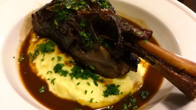Braised Lamb Shank served over Mashed Potatoes with Red Wine Sauce
