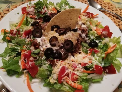 Ultimate Taco Salad with chili in the center