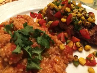 Mexican Rice accompanies a SouthWest style Chicken Breast
