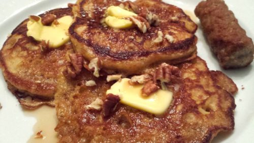 Fluffy buttermilk pancakes with pecans