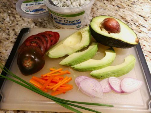 Ingredients for Avocado Veggie Bleu Toast