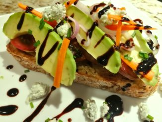 Closeup of Avocado Veggie Bleu Toast