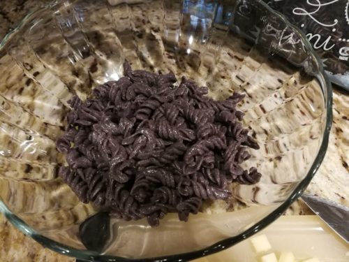 Trader Joe's black bean rotini as the pasta salad base
