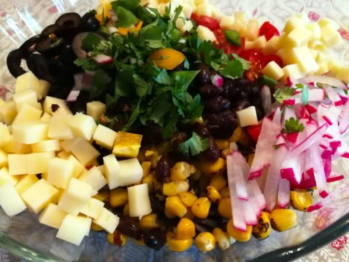 Tex Mex Pasta Salad ingredients ready to mix