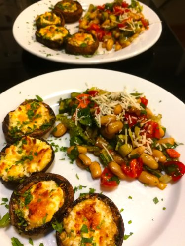 Stuffed Mushrooms served with Chopped Salad