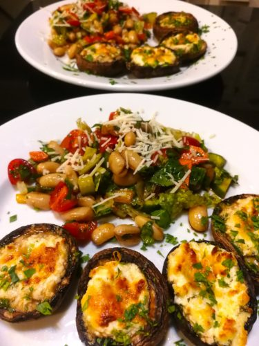 Chopped Salad accompanies Baked Stuffed Mushrooms