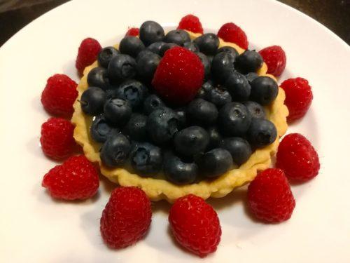 Blueberry Lemon Curd Tart with Raspberries