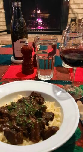 Beef Bourguignon in front of the fireplace