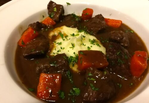 Hubby's beef bourguignon served with mashed potatoes