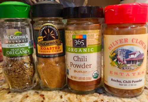 Spices for buffalo chili: Mexican oregano, cumin, chili powder, ancho chile powder