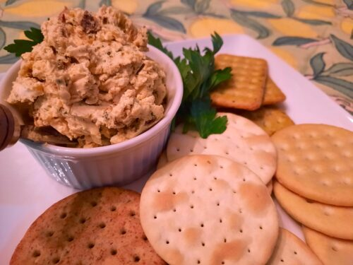 Zesty Mediterranean Goat Cheese Spread served with crackers
