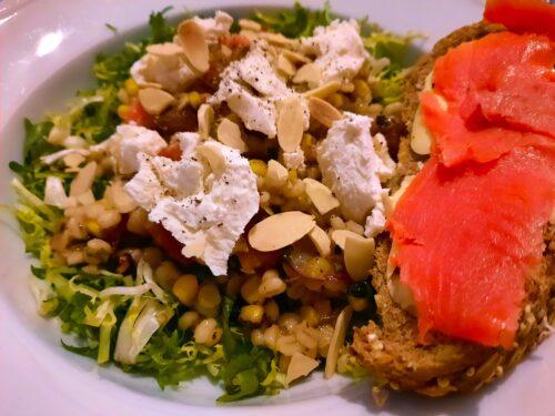 Smoky corn tomato multigrain salad